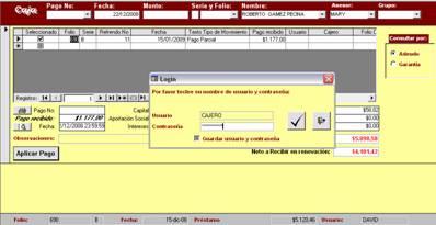 Pantalla de caja Sistema de Prestamos Personales